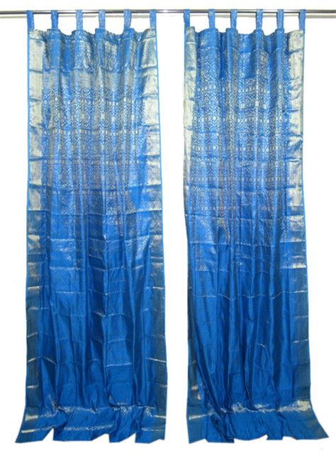 indian style decor 2 sari curtains blue brocade silk sari