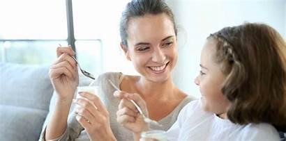 Eating Daughter Mother Yogurt Yoghurt Healthy Smiling