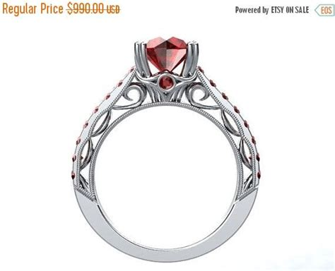 ruby engagement ring 14kt white gold round 6 5mm pigeon
