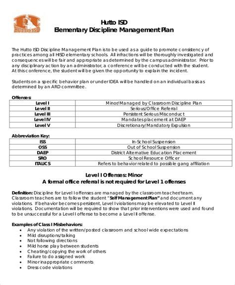 classroom management plan templates   word