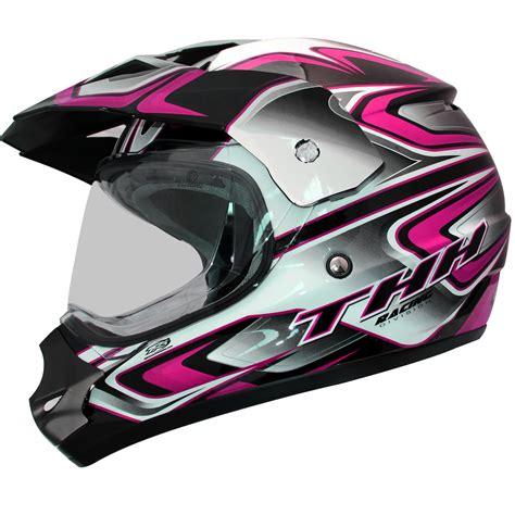 pink motocross helmet thh tx 13 3 black pink dual sport helmet mx motocross atv