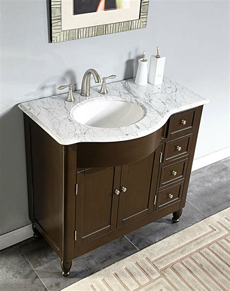White Bathroom Vanity With Marble Top by 38 Quot Furniture Bathroom Vanity White Marble Top Left Sink