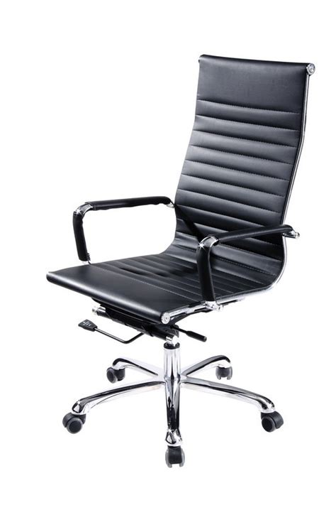 scroll modern black eco leather office chair