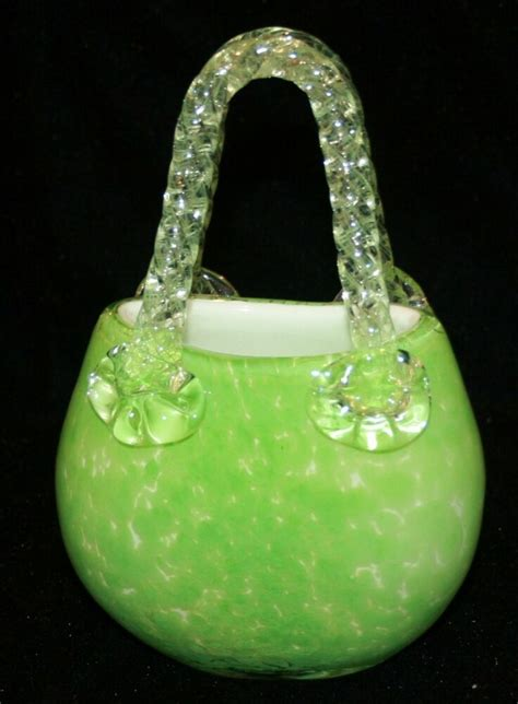 Glass Purse Vase by Fifth Avenue Lime Green Glass Purse Handbag