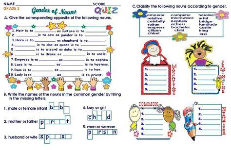 worksheets on gender of nouns for grade 1 homeshealth info