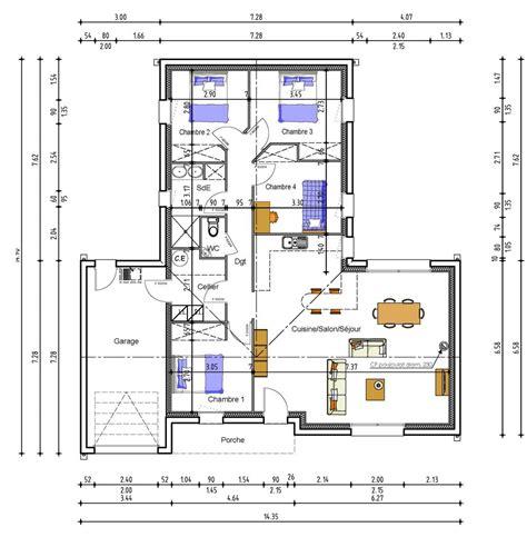 plan maison 100m2 4 chambres cuisine plan maison chambres garage plain plan maison 4