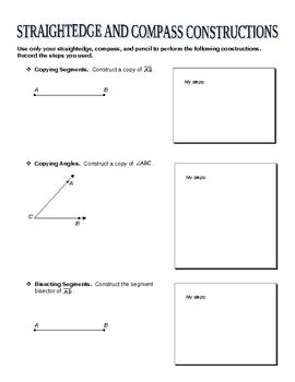 straightedge and compass constructions worksheet by