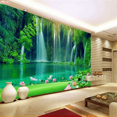 3d Wallpapers For Walls by Aliexpress Buy Shinehome Modern Waterfall