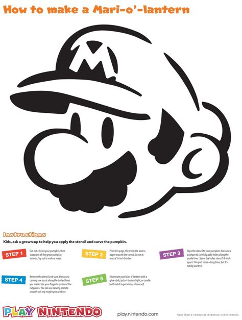 colorful mario brothers pumpkin carving template photos