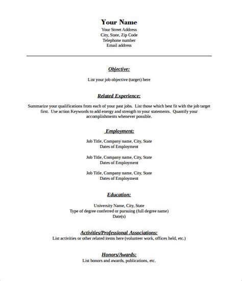 Fillable Federal Resume Template by 40 Blank Resume Templates Free Sles Exles Format Free Premium Templates