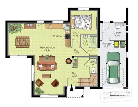 plan de maison contemporaine avec etage ventana