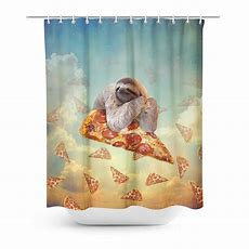 Sloth Pizza Shower Curtain  Shelfies Alloverprint