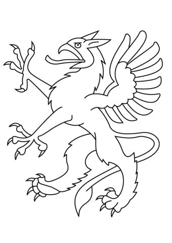 Heraldic Dragon coloring page Free Printable Coloring Pages