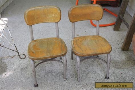 set of 2 vintage heywood wakefield small wood metal school