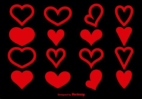 red heart shapes   vectors clipart graphics