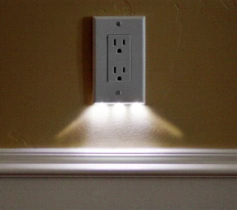 wall light with electrical outlet led night light outlet covers install in seconds use just