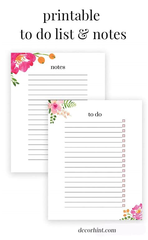 Free Printable Floral List Notes Decor Hint