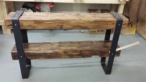 double decker barn beam console table  rebarn