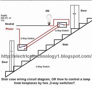 Electrical Technology  Stair Case Wiring Wiring Diagram  Or How To Control A Lamp From Two