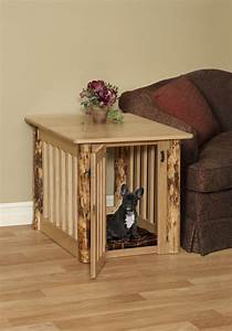 wooden dog crate end table with rustic log post oak wood With dog crate and table