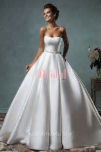 sleeveless wedding dresses ivory satin simple gown strapless wedding dress with sash luckybridals
