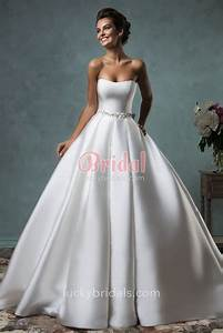 Ivory Satin Simple Ball Gown Strapless Wedding Dress with ...