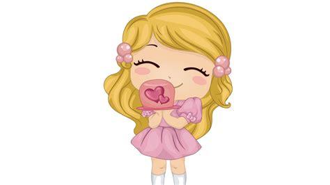 Wallpaper Cartoon Girl 3d Pink Love Heart Cute Gift