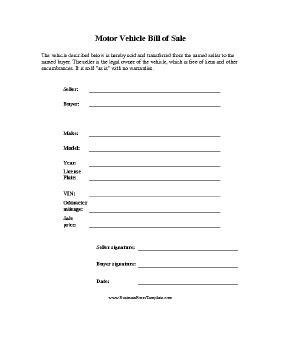 motor vehicle bill  sale template