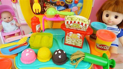 Awesome Baby Doll Kitchen And Play Doh Cooking Toys Play