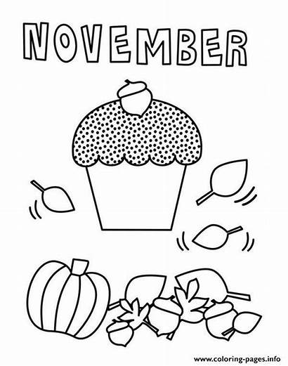 Coloring November Pages Printable Cupcake Fall Month