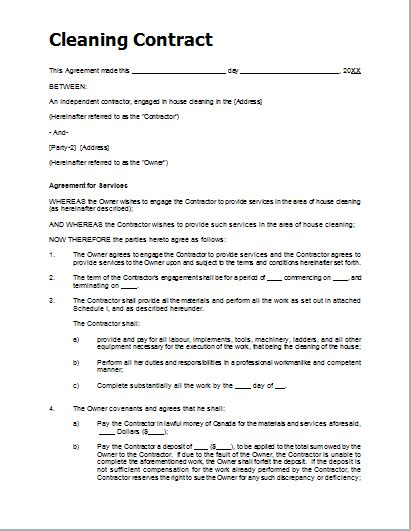 sample cleaning contract template  ms word document hub