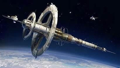 Futuristic Space Station Shuttle Aerospace Engineering Satellite