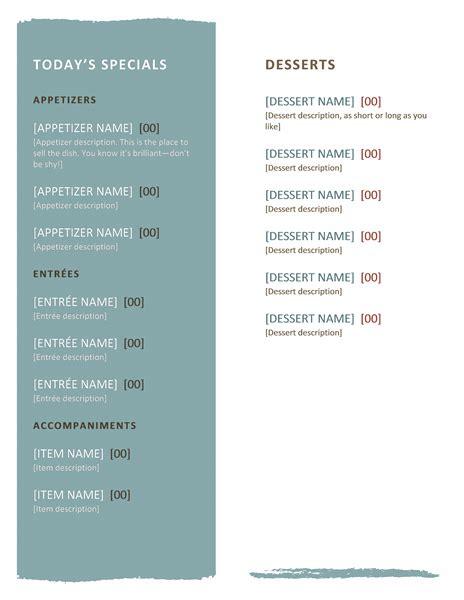 restaurant menu template microsoft word templates