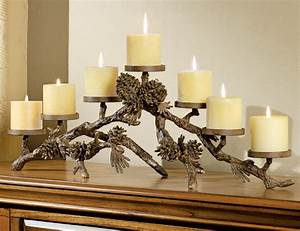 Rustic, Candle, Holders, Metal, Pinecone, Candelabra