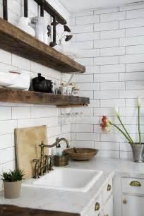 White Reclaimed Wood Kitchen Shelves