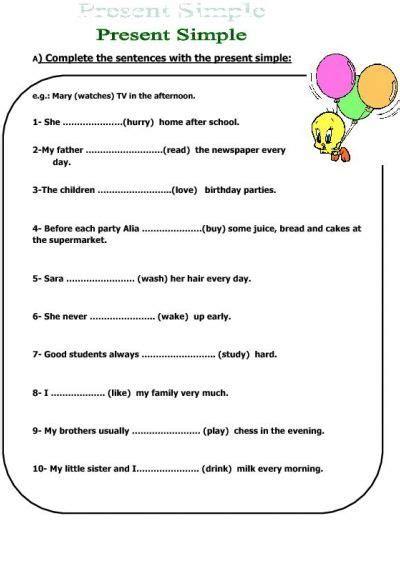 simple present tense kids worksheet activities