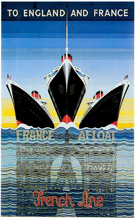 Art Deco Boat Poster by Vintage Travel Poster France French Boat Print Cruise