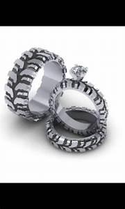 mud tire tread wedding ring set stuff pinterest With tire tread wedding ring