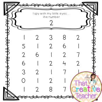 quot i spy quot number recognition worksheets 1 10 by that creative teacher