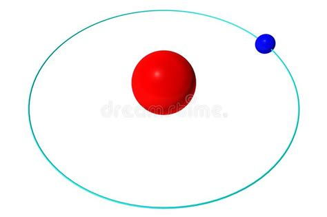 Hydrogen Atom Isolated On White, Red Proton And Blue