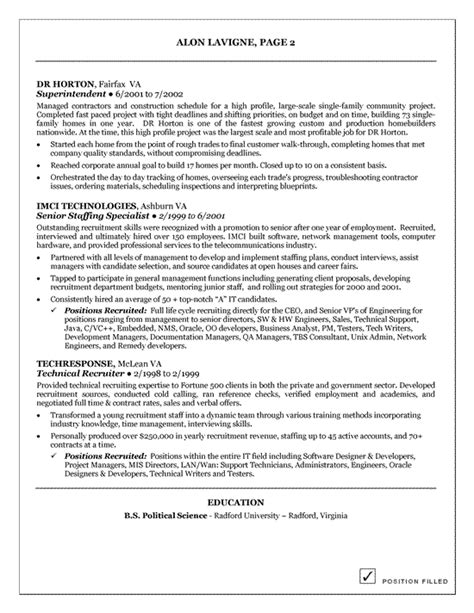Technical Recruiter Resume Template by Sle Resume For Best Buy Stonewall Services