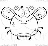 Fly Happy Coloring Cartoon Clipart Chubby Outlined Vector Cory Thoman Royalty sketch template