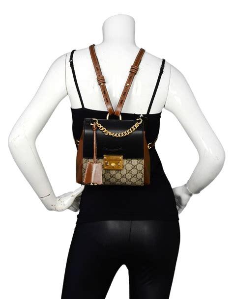 gucci  monogram gg supreme canvas  leather padlock backpack bag  stdibs
