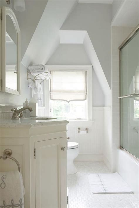 ivory attic bathroom  gray accents transitional