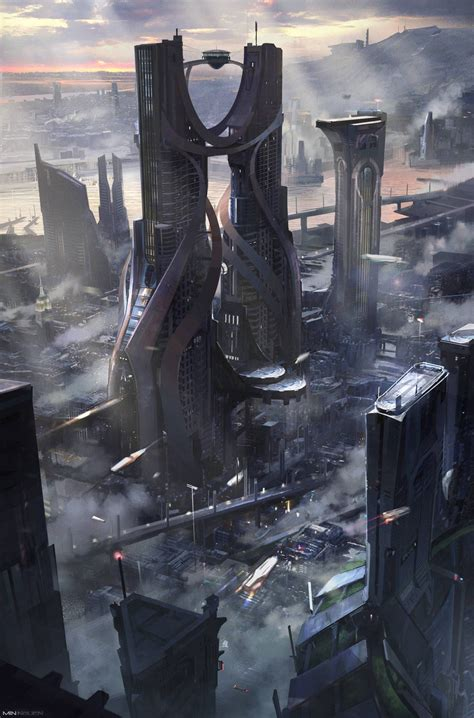 science fiction concept for titan a e by the kraken digital painting in 2019 future city cyberpunk futuristic city
