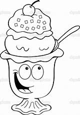 Ice Cream Sundae Cartoon Clip Clipart Illustration Bowl Coloring Vector Pages Icecream Illustrations Drawing Drawings Fotosearch Kenbenner Cliparts Graphics Gograph sketch template