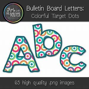 Bulletin board letters colorful target dots classroom for Bulletin board letters target
