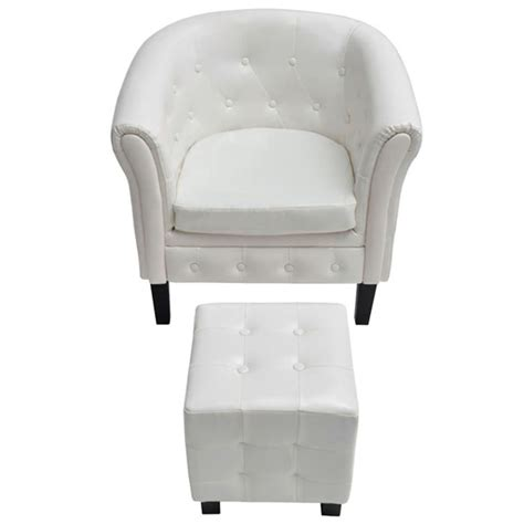 Armchair With Stool by Chesterfield Armchair With Stool White Vidaxl Au