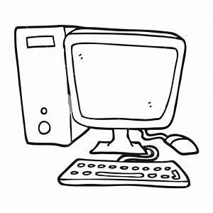 freehand drawn black and white cartoon desktop computer ...