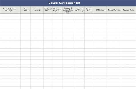 excel comparison template vendor comparison template excel calendar monthly printable